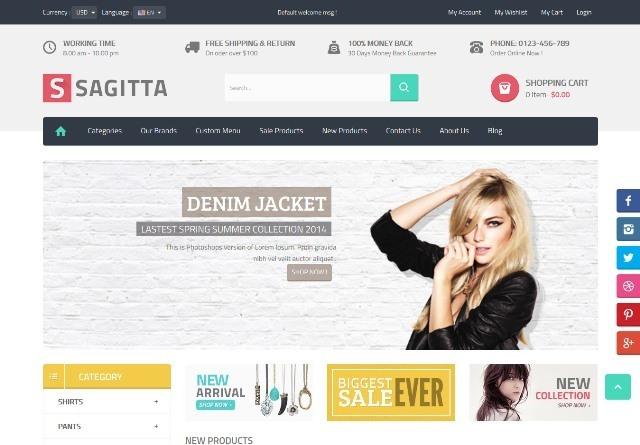 Sagitta Mega Store Responsive PrestashopTheme