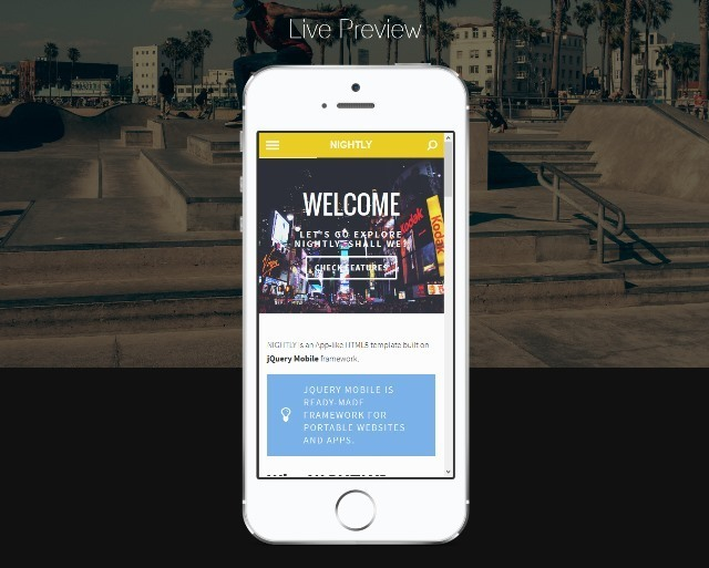 Nightly - jQuery Mobile Template