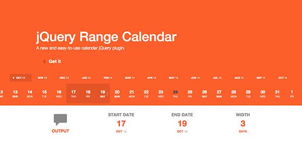 jQuery Range Calendar Plugin