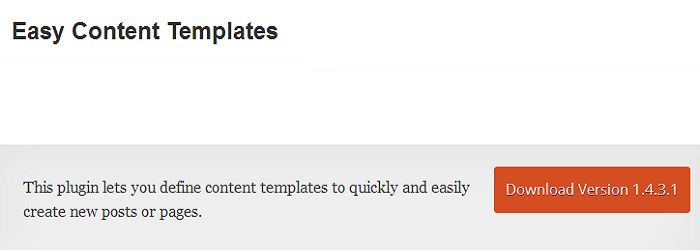 Easy Content Templates