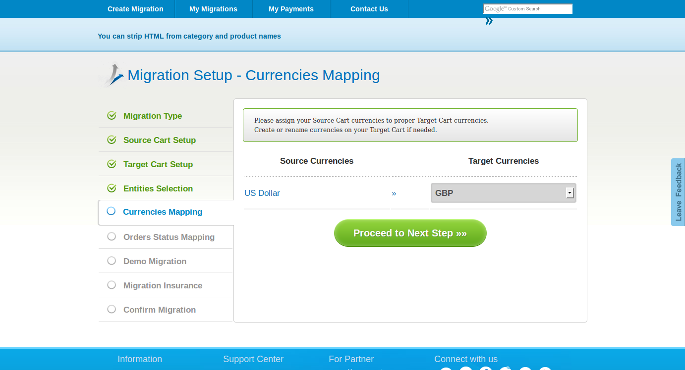 Order Status Mapping page