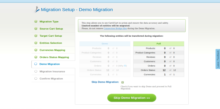 Start Demo Migration button