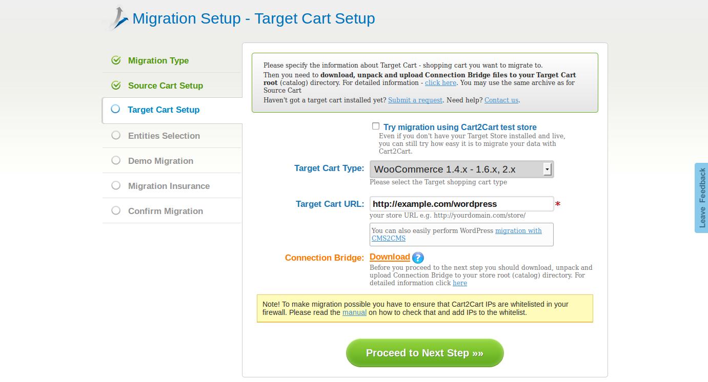Target Cart URL