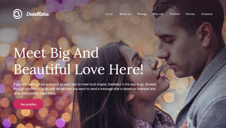 Datelletto - Dating Premium Moto CMS 3 Template