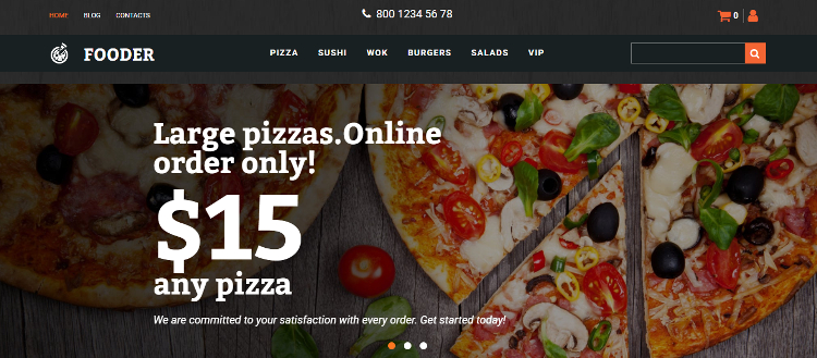 Fooder - Pizza Restaurant MotoCMS Ecommerce Template