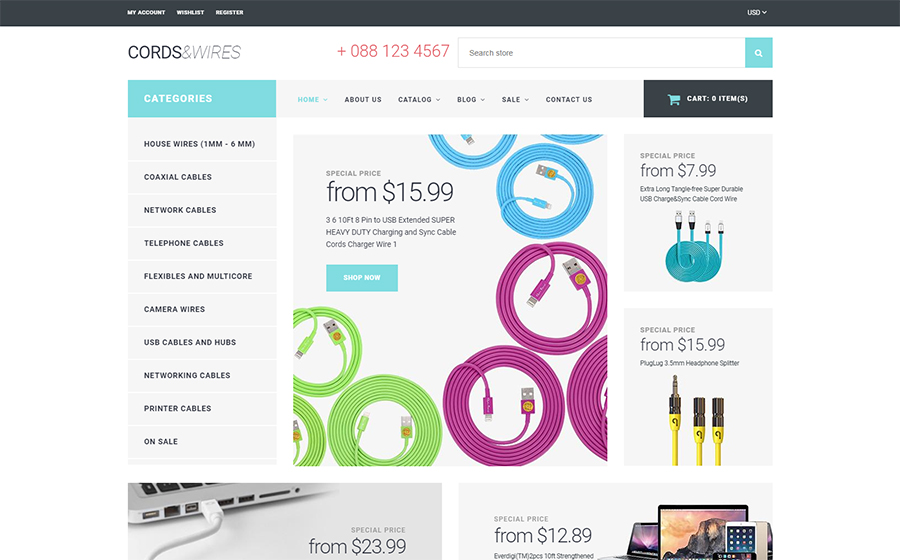 Cords & Wires Shopify Template