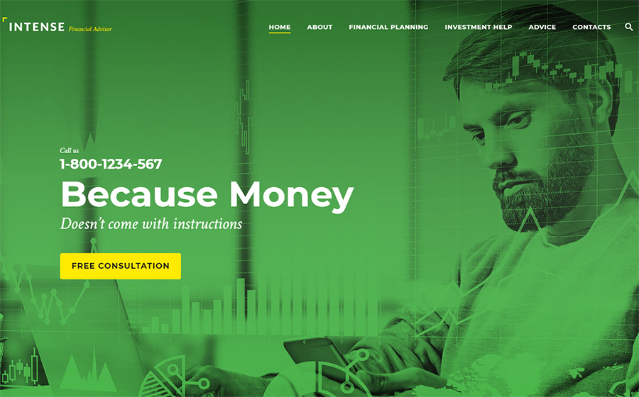 Intense Financial Advisor Website Template