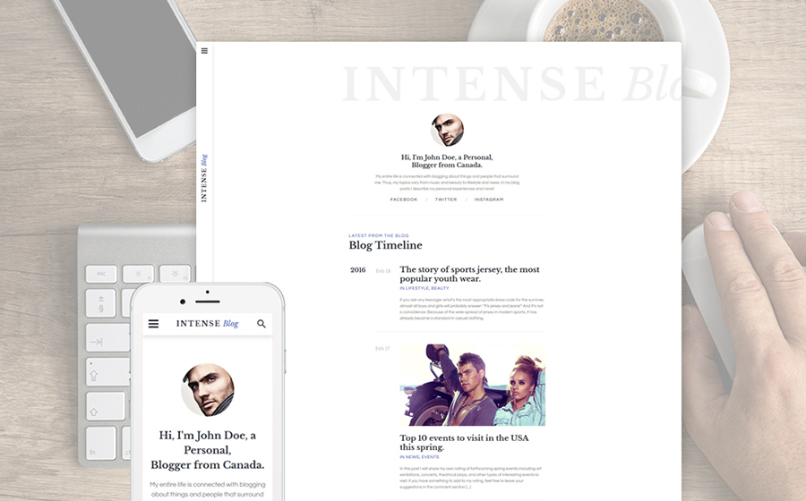 INTENSE Blog Website Template